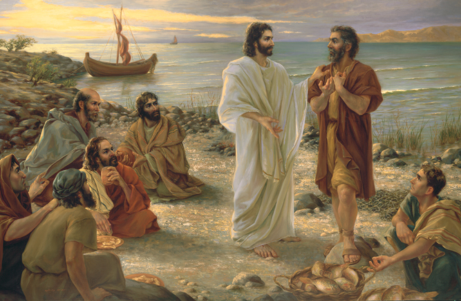 A painting by Kamille Corry of Christ surrounded by His Apostles, talking with Peter and pointing down to a basket of fish.