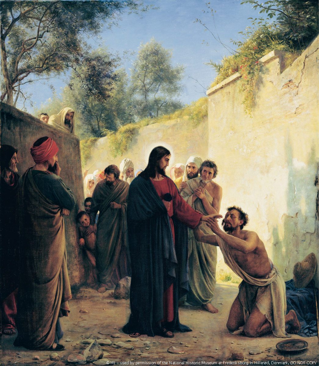 Christ in red and blue robes, reaching out to a blind man who has grasped His arm while a crowd of people watch to see what will happen.