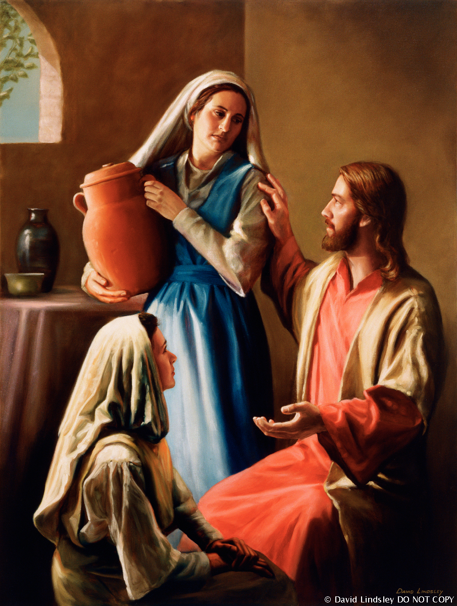 A painting by David Lindsley showing Christ sitting in the home of Mary and Martha, counseling with them.