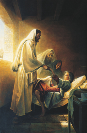 Christ in a white robe, holding the hand of a young girl whom He has just raised from the dead while her parents look on.