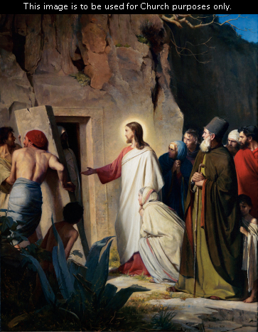 A painting by Carl Bloch of Christ in a white and red robe standing in front of Lazarus's tomb while Lazarus walks out of the door.
