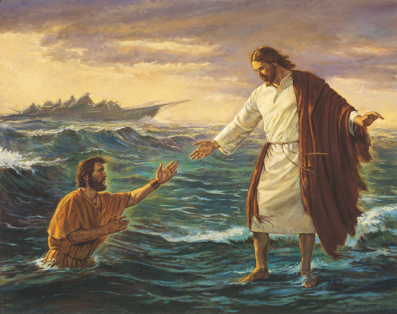 A painting by Robert T. Barrett depicting Christ in white and red robes, standing on the water and reaching out to Peter, who is sinking.