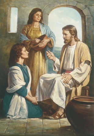 A painting by Del Parson of Christ sitting in the home of Mary and Martha, with the two women sitting and standing nearby.