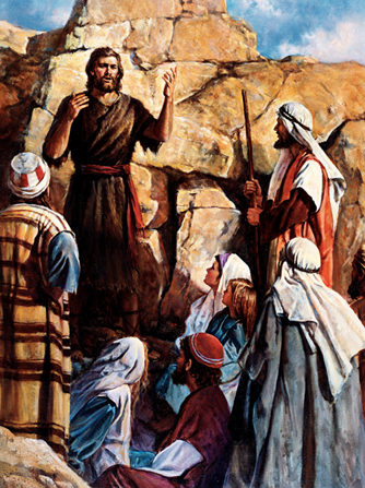 A painting by Del Parson showing John the Baptist in a brown robe talking to a group of people.