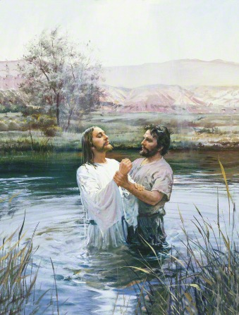 John the Baptist holding onto the wrist of Jesus Christ, whom he has just immersed in the waters of the River Jordan that surround them.