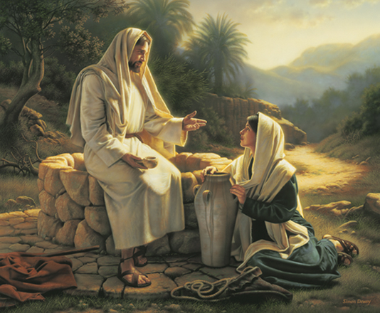 Christ in white robes, sitting on the edge of a stone well, talking to a woman who sits on the ground next to a water jug, listening to His words.