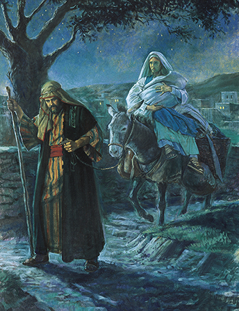 A painting by Robert T. Barrett of Joseph walking in front of a donkey that is carrying Mary and the Christ child as they flee Jerusalem at night.