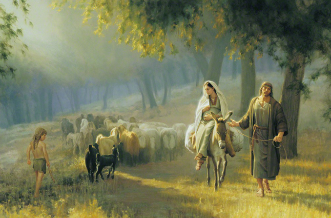 A painting by Joseph Brickey showing Mary and Joseph and a donkey walking through a sunny field past a small shepherd and his flock.
