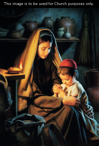 A painting by Simon Dewey showing Mary with her head covered bowing and holding onto the arm of a young Jesus who is praying with hands clasped.