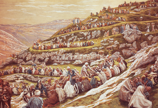A painting by James Tissot showing 5,000 people on a hill being fed by Christ's Apostles from baskets of food.
