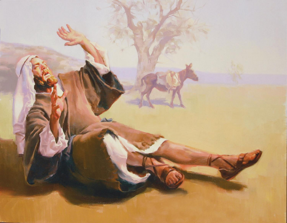 A painting by Sam Lawlor showing Saul lying on the ground blinded by the light shining from overhead.