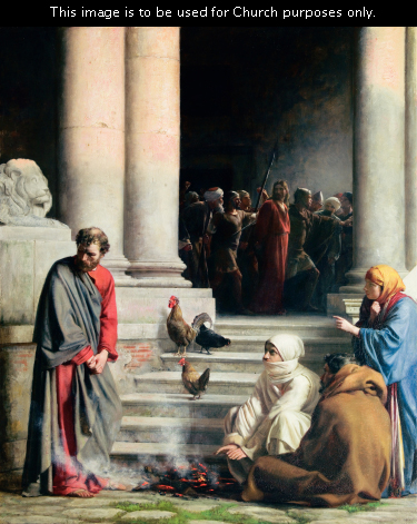 A painting by Carl Bloch of Peter with his head bowed in shame while others look at him accusingly and Christ stands in captivity in the background.