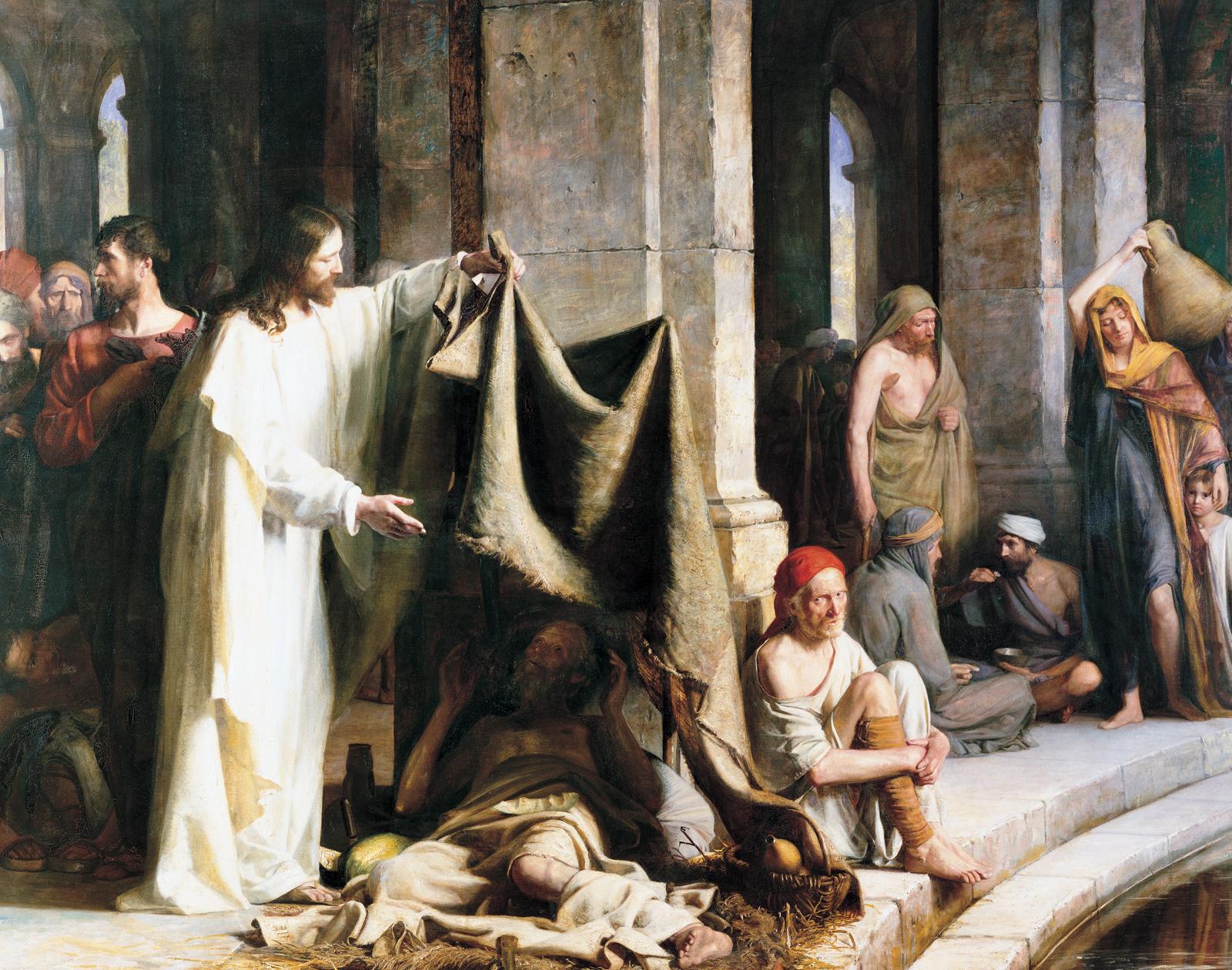 Resultado de imaxes para: christ healing the paralytic at the pool