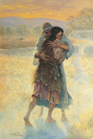 A painting by Clark Kelley Price showing a father embracing his son, who is wearing rags, on the road outside of the family's home.