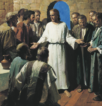 The resurrected Jesus Christ stands before His Apostles and stretches out His hands to show them the wounds.