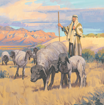 A painting by Paul Mann showing a shepherd standing in a field behind several grazing sheep.