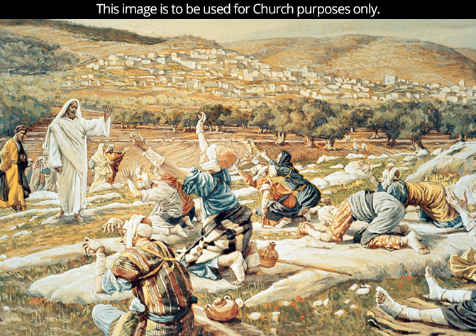 A painting by James Tissot showing Christ approaching a group of 10 lepers, who are kneeling on the ground, begging for assistance.