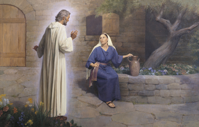 A painting by John Scott showing Mary in a blue robe, sitting on a rock wall and looking up at the angel Gabriel, who stands near her.