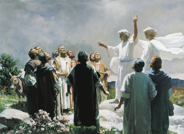 A painting by Harry Anderson of two angels in white robes pointing toward the heavens while Christ's Apostles stand around looking up.