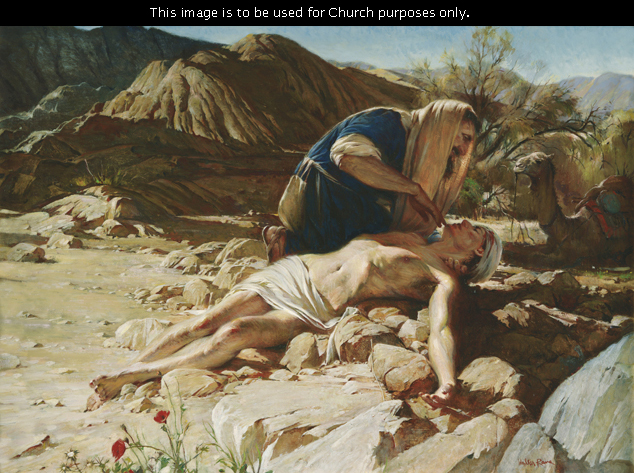 A painting by Walter Rane showing the good Samaritan kneeling in the road to care for the wounded man, who is lying on the rocks.
