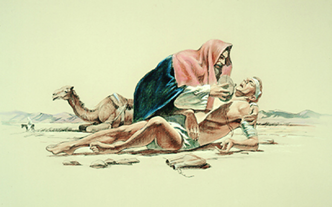 A painting by Del Parson showing the good Samaritan giving the injured man on the road something to drink.