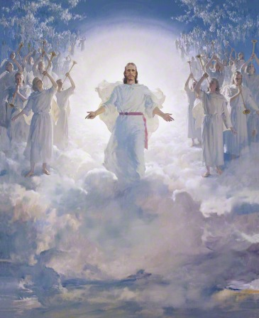 Jesus Christ in white robes and a red sash, standing on a cloud in the air, surrounded by thousands of angels blowing trumpets; Mormon art