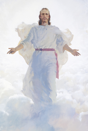 A painting by Harry Anderson showing Christ in white robes and a red sash, standing on a cloud with His arms outstretched.