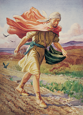 A painting by George Soper of a sower scattering seeds from a green pouch slung over his shoulder.