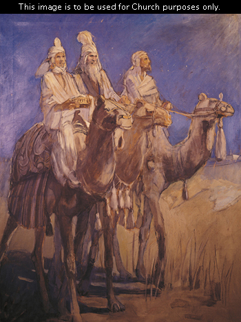 A painting by Minerva Teichert showing three Wise Men in white robes and hats, riding camels and carrying their gifts across the desert.