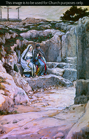 A painting by James Tissot showing Mary Magdalene and Mary the mother of Jesus standing outside of Christ's tomb.