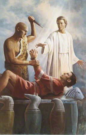 A painting by Del Parson showing an angel stopping the hand of the priest who is raising a knife to sacrifice Abraham.