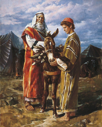 A painting by Del Parson showing Abraham and his son Isaac walking with a pack animal that is loaded with wood.