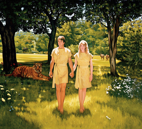 A painting by Lowell Bruce Bennett showing Adam and Eve in yellow clothing walking among trees, with a tiger lying in the grass behind them.