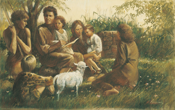 A painting by Del Parson showing Adam and Eve sitting on the ground, talking and reading to five of their children, who surround them.