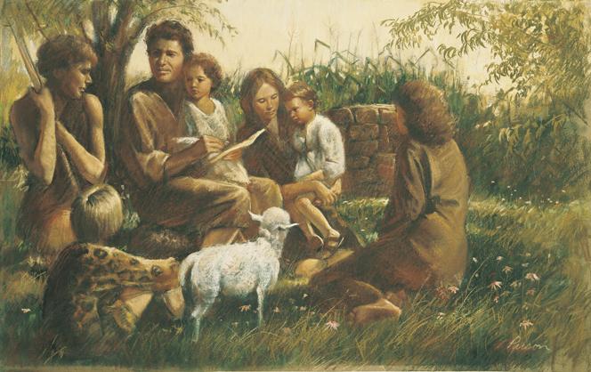Gemälde von Del Parson: Adam und Eva sitzen auf dem Boden, umgeben von fünf ihrer Kinder, denen sie etwas anhand von Aufzeichnungen erläutern