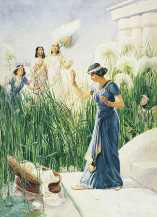 A painting by George Soper showing the daughter of Pharaoh and several other women encountering the baby Moses among the bulrushes.