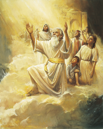 A painting by Del Parson showing Enoch surrounded by the people of his city on a large cloud being raised into the air.