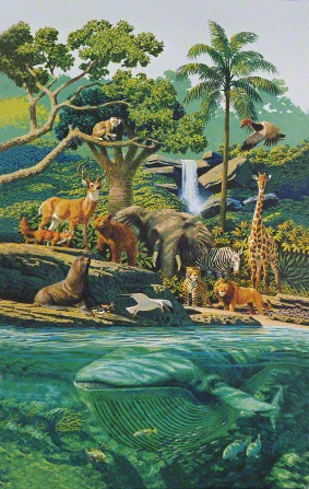 A painting by Stanley Galli showing various animals in the land and the sea, including a whale, an elephant, and a giraffe.