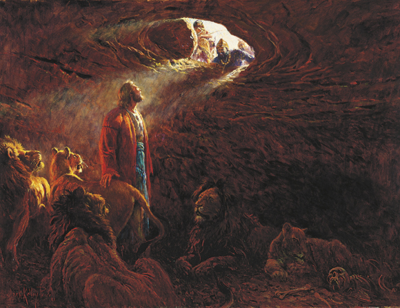 A painting by Clark Kelley Price of Daniel in the lions' den surrounded, looking up to the light coming in from the open entrance above.