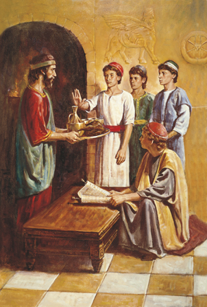 A painting by Del Parson showing Daniel and his friends refusing the meat and wine being offered to them.