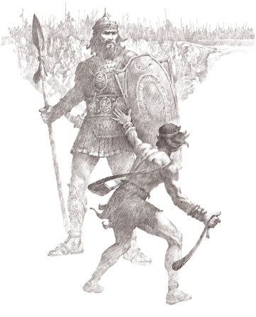 A drawing by Ted Henninger showing a young David attacking the giant, well-armored Goliath with a small sling.