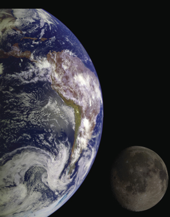 A view of a part of the earth from space, with the moon seen in the distance.