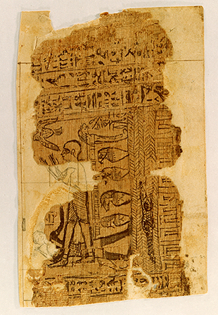 A photograph of the Egyptian papyri manuscript that was the source for Facsimile No. 1.