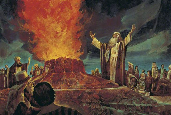 A painting by Jerry Harston showing Elijah standing before a fire-engulfed altar with arms extended while the priests of Baal stand back.