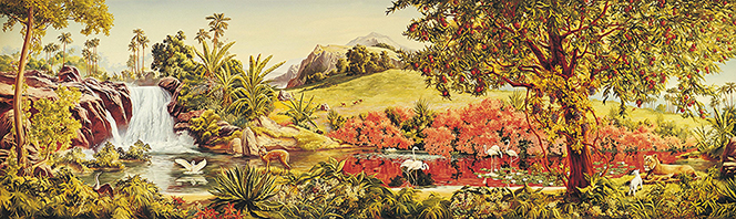 A panoramic painting by Grant Romney Clawson showing the beauty of the Garden of Eden, with a waterfall, large trees, and white birds.