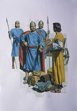 A painting by Paul Mann depicting the disobedience of Elisha's servant Gehazi, who received money and clothing from Naaman.