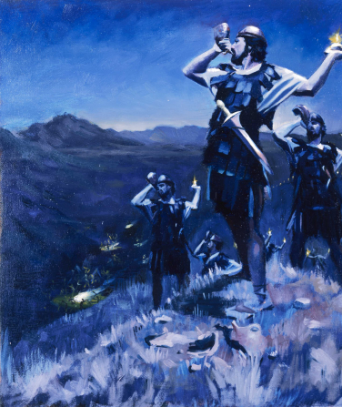 A painting by Daniel A. Lewis depicting Gideon's army at nighttime walking up a hill, blowing horns and holding small lamps.