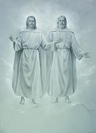 A depiction by Del Parson of Jesus Christ and God the Father in gray and white tones, standing in the air.