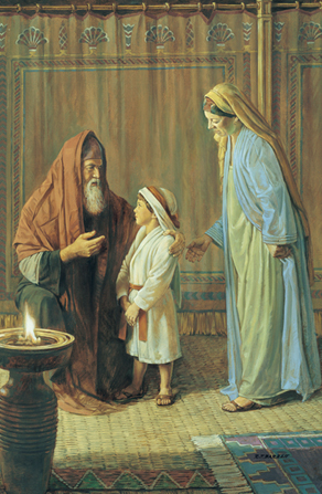 A painting by Robert T. Barrett showing Hannah and her young son, Samuel, standing before Eli.