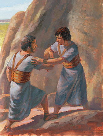 A painting by Wilson Ong showing Jonathan and David greeting one another with a smile and a gesture of friendship.
